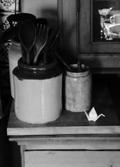 Black and White Project (ART NAHPRO) Tags: crane origami ceramic pots kicthen rustic vintage