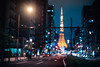 Tokyo Tower (Jon Siegel) Tags: nikon d810 50mm 12 50mmf12 50mm12 bokeh blur tower tokyotower night evening tokyo japan japanese street road lowlight city urban