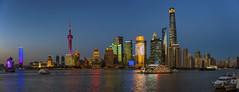 Shanghai Twilight Skyline (merbert2012) Tags: china shanghai longexposure panorama lights reflection skyline nikond800 cityscape city travel reisen water night twilight norberttrewin