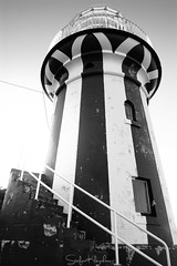 Hornby Lighthouse - Watsons Bay (StefanKleynhans) Tags: lighthouse sydney nsw australia coast safety light blackandwhite bw red white sun highlights stairs lines bands window sky cloudless