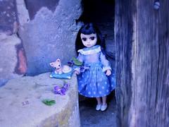 The blue Hour (pianocats16) Tags: susie sad eyes vintage doll margaret keane big eye kitty cat figure handmade cute old barn door