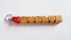 MiniTag Name Charm in Oak Wood (DustyNewt Scott) Tags: minitag wood wooden woodworking personal personalized name gifttag zipperpull charm pendant handmade fob oak evelyn heart love boyfriend girlfriend couple lovers jewelry tag nametag