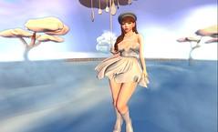 Weather Girl (meguminn) Tags: clouds heavenly rain weather dress blue sky umbrella boots beret