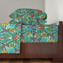 aziza turquoise Langhan sheet set (Scrummy Things) Tags: sharonturner aziza morocco marrakech marrakesh illustration paintedwood flowers floral pattern surfacedesign boho bohemian summer festival sheets bed spoonflower roostery langhan