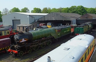 Locomotive No.60163 'Tornado', awaiting repair completion, next to Battle of Britain class loco No.34081 '92 Squadron' at Wansford, Nene Valley Railway. 08 05 2018