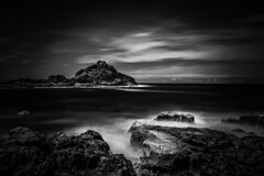 View to rocky island (jack eastlake) Tags: landscape columns rhyolite castlelike stacks sea wildbeachaus geology bega tathra nsw coast south far park national rocks mimosa seascape bw long exposure lee filters 16 stops
