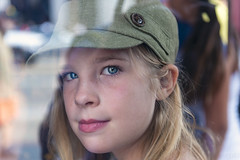 Charlotte thru a window (lgflickr1) Tags: charlotte people places abstract bokeh california child city d700 reflection reflections girl kid nikon outdoor portrait street streetphotography urban exterior winter youth young eye hollywood hat cute stare blond pretty patterns 2470mm blur transparent eyes candid innocent daughter indooroutdoor streetshot