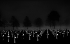 9,387 Graves (The Black Fury) Tags: cemetery omahabeach normandie normandy collevillesurmer fog flag tree lowkey blackandwhite bw