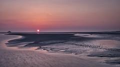La Tombelaine au soleil couchant (imagene74) Tags: montstmichel coucherdesoleil plage sable