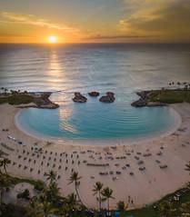 Sunset On Oahu (Stuck in Customs) Tags: florida sarasota treyratcliff stuckincustoms stuckincustomscom aurorahdr hdr hdrtutorial hdrphotography hdrphoto ohau hawaii usa sunset orange beach drone dji mavic pro travel family red sun ocean sea