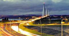 M90 (Beardy Vulcan II) Tags: scotland summer september 2017 m90 motorway road highway 40 lighttrails night nocturnal dusk sliproad estuary firth firthofforth forth river water bridge queensferry queensferrycrossing lothian