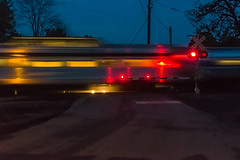 18-2878 (George Hamlin) Tags: virginia amherst railroad passenger train amtrak northeast regional atk 171 twilight evening road street grade crossing signals lights sky vehicle auto headlights reflections photo decor george hamlin photography