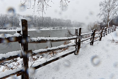 Mohawk River Fence (fotofish64) Tags: fence snow white woodenfence perspective snowfall weather inclementweather rural rustic mohawkvalley mohawkriver river schenectadycounty rotterdam rotterdamjunction mabeefarmhistoricsite newyork capitaldistrict outdoor pentax pentaxart k70 kmount hdpentaxda1685mmlens