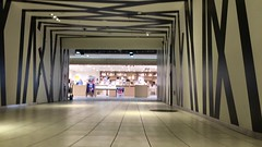 Zooming by the Camouflaged Corridor (sjrankin) Tags: 17may2018 edited sapporo hokkaido japan corridor pattern video timelapse people store black white processed