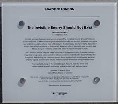 Trafalgar Square, Fourth Plinth label. (alh1) Tags: michaelrakowitz thefourthplinth theinvisibleenemyshouldnotexist trafalgarsquare england lamassu london