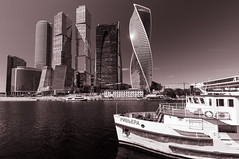 """Moscow International Business Centre (MIBC),""""Moscow City"""", Russia (Vadim Tsymbalyuk) Tags: mibc moscowcity moscow downtown skyscrapers river ship russia monochrome москва москвасити cityscape"""