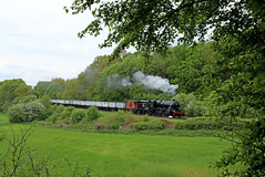 48624 clanks towards Kinchley lane (Andrew Edkins) Tags: flickr explore 48624 lms stanier railwayphotography kinchleylane greatcentralrailway windcutters travel goodsgalore may 2018 summer freighttrain uksteam light trees leicestershire rothley 8fclass preservedrailway geotagged canon afternoon heritage vintage steamhauledfreight