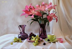 Besides This May (Esther Spektor - Thanks for 12+millions views..) Tags: stilllife naturemorte bodegon naturezamorta stilleben naturamorta composition creativephotography spring may tabletop flowers lily bouquet grape cluster vase pitcher plate cup saucer petal curtain glass ceramics ambientlight white green pink burgundy purple estherspektor canon coth5