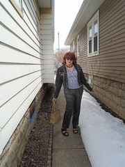 Winter's Tenacious Grip Is Loosening . . . (Laurette Victoria) Tags: jacket denim redhead laurette woman sunglasses