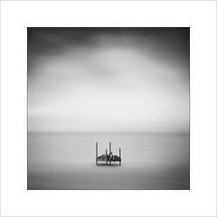 Whitby harbour. (tkimages2011) Tags: whitby harbour rig platform water sea sky clouds mono monochrome le longexposure outdoor outside yorkshire