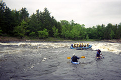Shooting Rapids on the Ottawa River (pmvarsa) Tags: summer 2000 analog colour film 135 kodak kodakmaxzoom800 maxzoom 800iso nikonsupercoolscan9000ed nikon coolscan cans2s disposable plastic waterpoof camera tourism white water rafting paddler celebration cheer boat raft guide helmets tour rapids cataracts flow rough danger crazy fun kayak trees nature camping ottawa river ontario canada