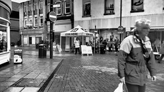 Join Here. (ManOfYorkshire) Tags: doncaster town centre marketplace market wet damp miserable misery day apring 2018 aa marquee joinhere bw blackwhite shoppers baxtergate no entry