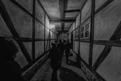 Through the Narrow Passage (WrldVoyagr) Tags: night deutschland gm5 fachwerk fisheye quedlinburg building panasonic architecture samyang bw 75mm germany lumix sachsenanhalt de