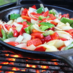 Vegtables on the grill in a cast iron skillet thumbnail