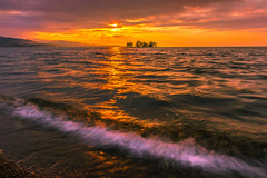 sunset 8623 (junjiaoyama) Tags: japan sunset sky light cloud weather landscape purple orange yellow contrast color bright lake island water nature winter beach sand wave