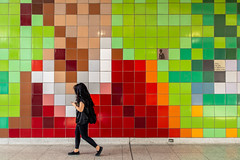 Wall-Eyed (cookedphotos) Tags: 2018inpictures toronto ontario canada ca canon 5dmarkiv streetphotography dufferin ttc subway station mosaic tile woman walking 365project p3652018 wall