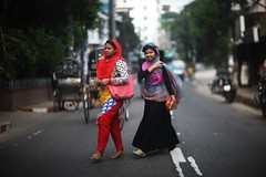 Happy Crossings (N A Y E E M) Tags: girls burqa candid colors smile friday afternoon street ashkardighirpar chittagong bangladesh windshield