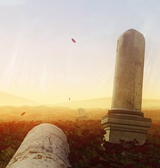 Moving On from the Past (Stachmo) Tags: moving from past reshade mind path thalamus flowers roses landscape ruins sunset petals sky digital art screenshot