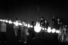 it seemed like a good idea at the time (Super G) Tags: sony012 sanfrancisco california unitedstates us dark room lightbulb people motion blur handheld bw blackandwhite candid experiment