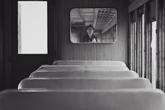 Old Train Car (mns_mike) Tags: train electric bw mirror reflection