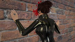 Talking to some people (alexandriabrangwin) Tags: alexandriabrangwin secondlife 3d cgi computer graphics virtual world photography banging head against wall stupid people who dont listen shiny glossy black catsuit ring hair updo glasses blood splatter injury rubber latex