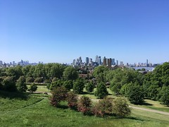 The City, Canary Wharf, and the Thames from Greenwich Park (Joshua Gaskell) Tags: cityoflondon canarywharf park greenwichpark greenwich london sky sunshine thames river