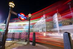 The Underground (supra455) Tags: bus car dark england exposure light london long night red soho steps traffic trails tube uk underground unitedkingdom gb