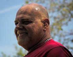 Handsome Bald man smiling (LarryJay99 ) Tags: pridefest2018 2018 lakeworth florida festival face faces facialhair mus muscles goatee baldhead bald men male man guy guys dude dudes manly virile studly stud masculine sexyman sidburns palesky