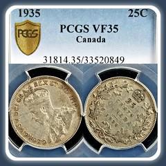 #Silver 1935 Canada 25 Cents graded #VeryFine by @pcgscoin.  #quarter #25c #canada #canadian #canadien #quebec #montreal #toronto #ontario #britishcolumbia #vancouver #vancouverbc #saskatchewan #calgary #edmonton #kinggeorgev #25cents #1930s #classic #cla (ApexCollecting.com) Tags: 1930s original vintage quebec history britishcolumbia classic ontario vancouverbc toned saskatchewan montreal canadian graded coin silver veryfine 25c edmonton canada vancouver classiccoin certified 25cents canadien quarter kinggeorgev calgary toronto