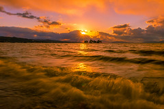sunset 9086 (junjiaoyama) Tags: japan sunset sky light cloud weather landscape purple orange yellow contrast color bright lake island water nature winter wave