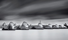 Thames Barrier before a storm (www.davidrosenphotography.com) Tags: thamesbarrier water thames river longexposure clouds blackwhite