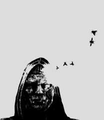A Buzzy Mind (Stachmoon) Tags: buzzy mind reshade screenshot portrait abstract surreal flies monochrome black white digital art