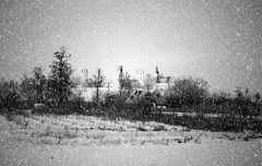 Castle in Czersk during the snowstorm (Adam Nowak) Tags: castle zamek śniezyca sepia zima