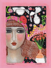 """PERFUMISTA"" (kitty jujube) Tags: art mixedmedia painting perfume woman paris face kittyjujube etsy flickr"