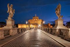 Ponte Sant'Angelo (Antoni Figueras) Tags: roma italia italy rome santangelo ponte castelo statues bridge bluehour night streetlights sonya7rii sony1635f4