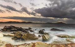 Cloudy Sunrise Seascape from Rock Platform (Merrillie) Tags: daybreak sunrise cloudy australia terrigal nsw rocky sea nature newsouthwales rocks earlymorning morning landscape terrigalhaven ocean centralcoast waterscape clouds coastal waves outdoors seascape dawn coast water sky