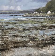 Tide's Out Lochranza - available (www.sandragraham.co.uk) Tags: artartworkartistartistscontemporaryartcollectorstreambrookburnwaterflowingnaturepaintingartistsimpastopainting seascape scottishlandscape scotland lochranza distillery beach tide coastal coast impasto visitscotland sandra grahamcouk