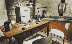 The Simple Things (Terry.Fotherington ✞) Tags: vintage kitchen secondlife mesh 3d table chairs fridge cuisine