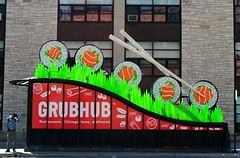 Grubhub (Cragin Spring) Tags: city chicago chicagoillinois chicagoil downtown downtownchicago illinois il midwest unitedstates usa unitedstatesofamerica sushi food chopsticks grubhub green red elevated