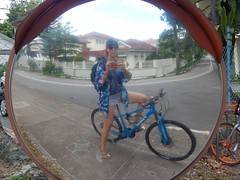 128/365: after the clothes swap (Michiko.Fujii) Tags: dailycommute girl bicycle blue balance mirror mirrors inthemirror convex wideangle reflections reflective singapore girlsonbicycles onthewayhome